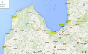 mappa posti di mare in lettonia
